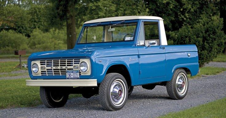 1966 Ford Bronco, kék, fehér tető, oldalnézet, jobbról