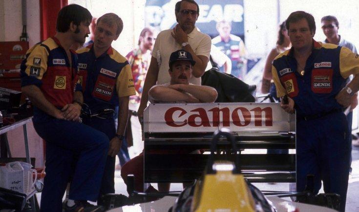 Formula-1 első magyar nagydíj, középen Nigel Mansell a Williams-Honda csapat versenyzője