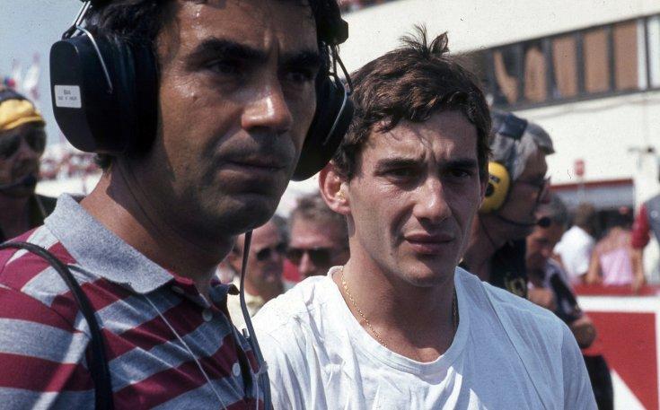 Formula-1 első magyar nagydíj, Gyulai István az MTV sportriportere és Ayrton Senna a Lotus-Renault csapat versenyzője