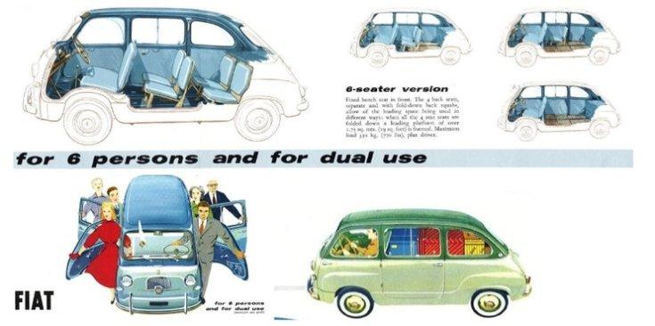 Fiat 600 Multipla, 6 személyes, beltér illusztráció, rajz
