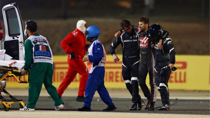 Romain Grosjean mentése a bahreini balesete után