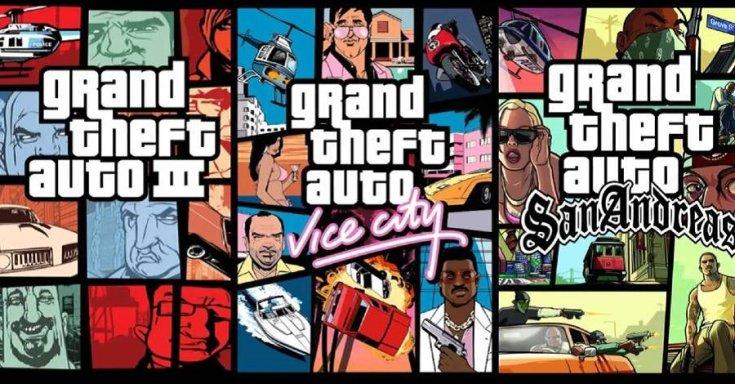 A Grand Theft Auto III, a Grand Theft Auto: Vice City és a Grand Theft Auto: San Andreas borítója egymás mellett