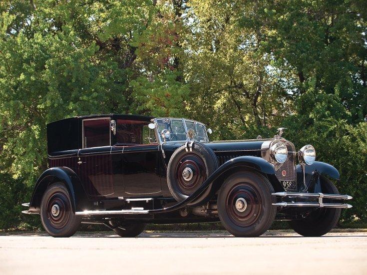 1924 Hispano-Suiza, H6B, fekete, landaulet, elölnézet, oldalnézet, jobbról
