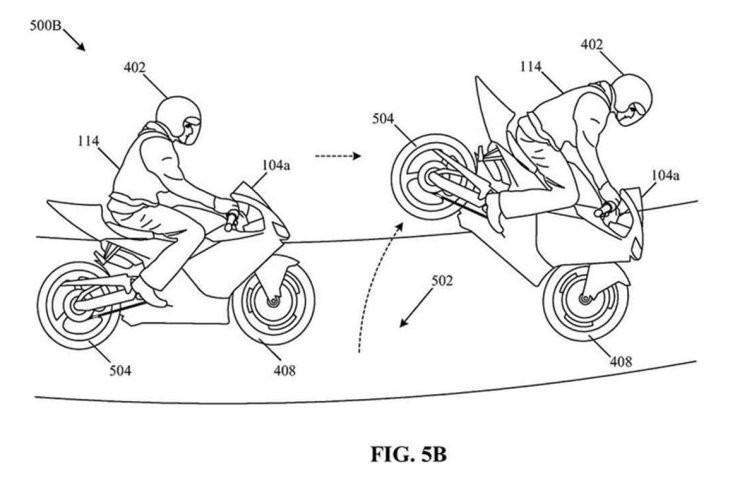 stoppie (első keréken gurulás) bemutatása a Honda szabadalmában