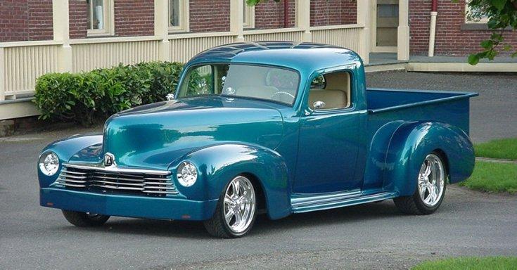 1939 Hudson Big Boy C28 pick up, kék, tuning, oldalnézet, jobbról