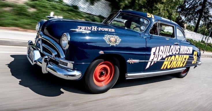 1951 Hudson Hornet Hollywood Coupé, kék, NASCAR autó replikája, Jay Leno