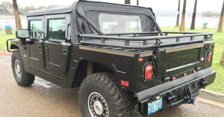 1992 Hummer H1 pick up, platós, fekete, hátulnézet, balról