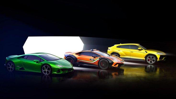 A Huracán Evo, a Lamborghini Huracán 'Sterrato' és a Lamborghini Urus egymás mellett