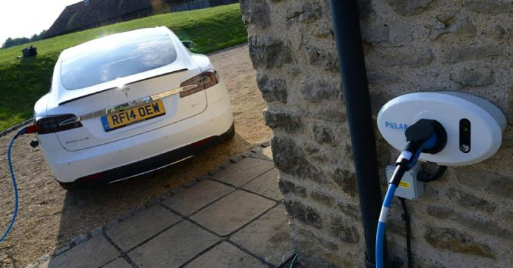 otthoni töltőre csatlakoztatott Tesla Model S