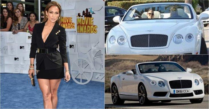 Jennifer Lopez és a Bentey Continental, amit ő maga vezet, féloldalról