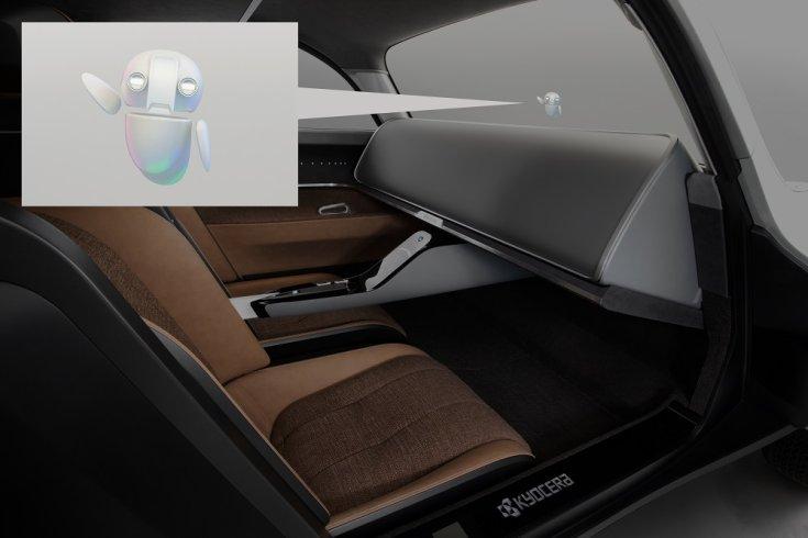 Kyocera Moeye koncepció autó belső tere és a Mobisuke nevezetű digitális segéd
