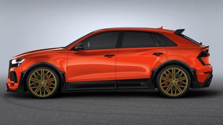 tuningolt narancssárga Audi RS Q8 oldalról
