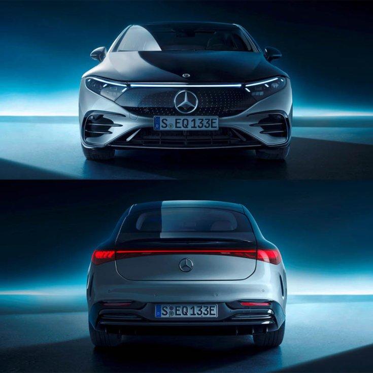 Mercedes EQS szemből és hátulról