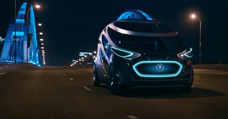 Mercedes-Benz Urban Urbanetic, fekete, LED-lámpával, elölnézet