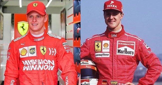 Mick és Michael Schumacher egy képen egymás mellett a Ferrari szerelésében