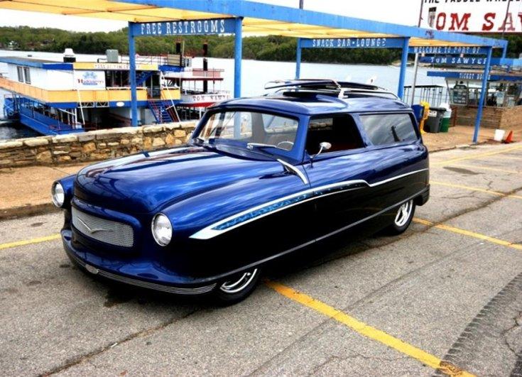 tuning Nash Rambler custom, izomautó, kombi, kék, oldalnézet, elölről, balról, retróvasak, alapjárat