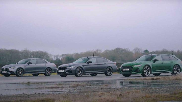 Egy fotón a BMW M5 Competition, a Mercedes-AMG E63 S és az Audi RS6 Avant