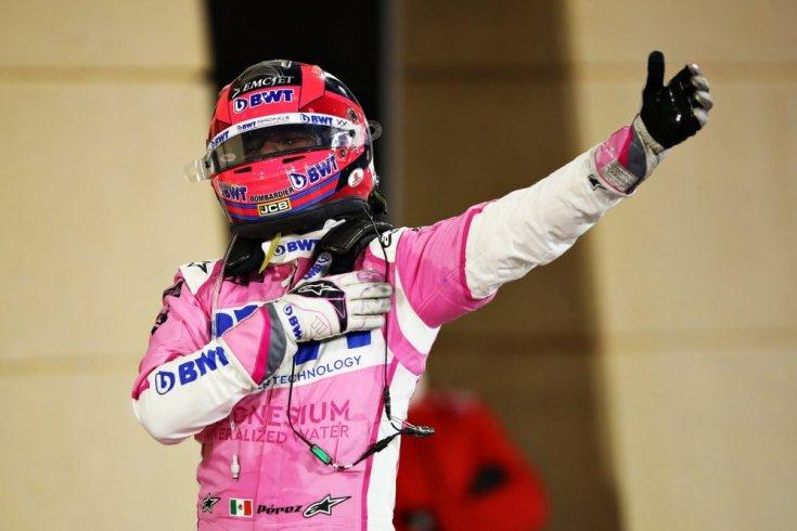 Sergio Perez ünneplése a verseny megnyerése után