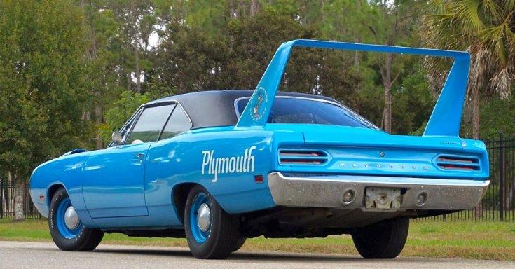 1970 Plymouth Superbird, kék, oldanézet, balról, hátulról