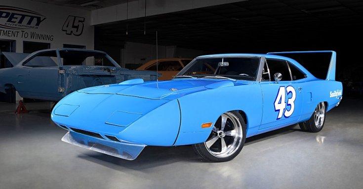 1970 Plymouth Superbird, kék, oldalnézet, jobbról