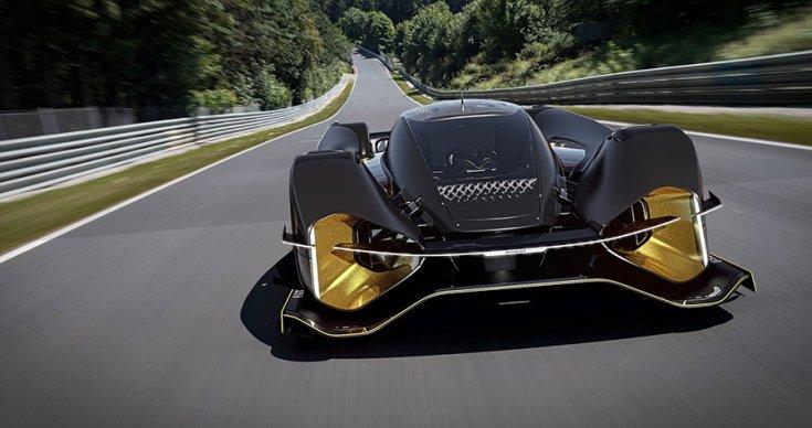 A Renault Le Mans-i hiperautója szemből egy versenypályán.