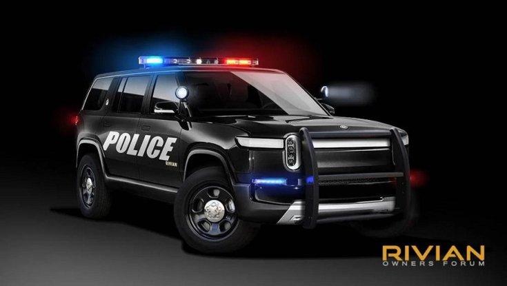 Rivian R1S rendőrautó
