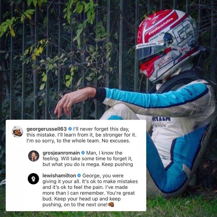 Russell és az említett instagram bejegyzések egy képen