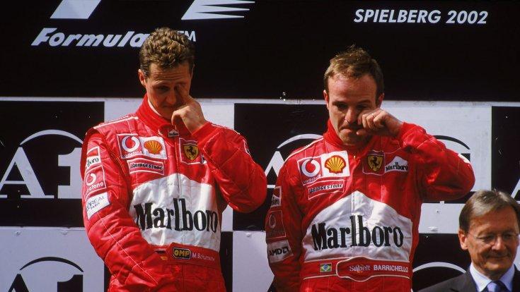 Michael Schumacher és Rubens Barrichello a 2002-es botrányos Osztrák Nagydíj után