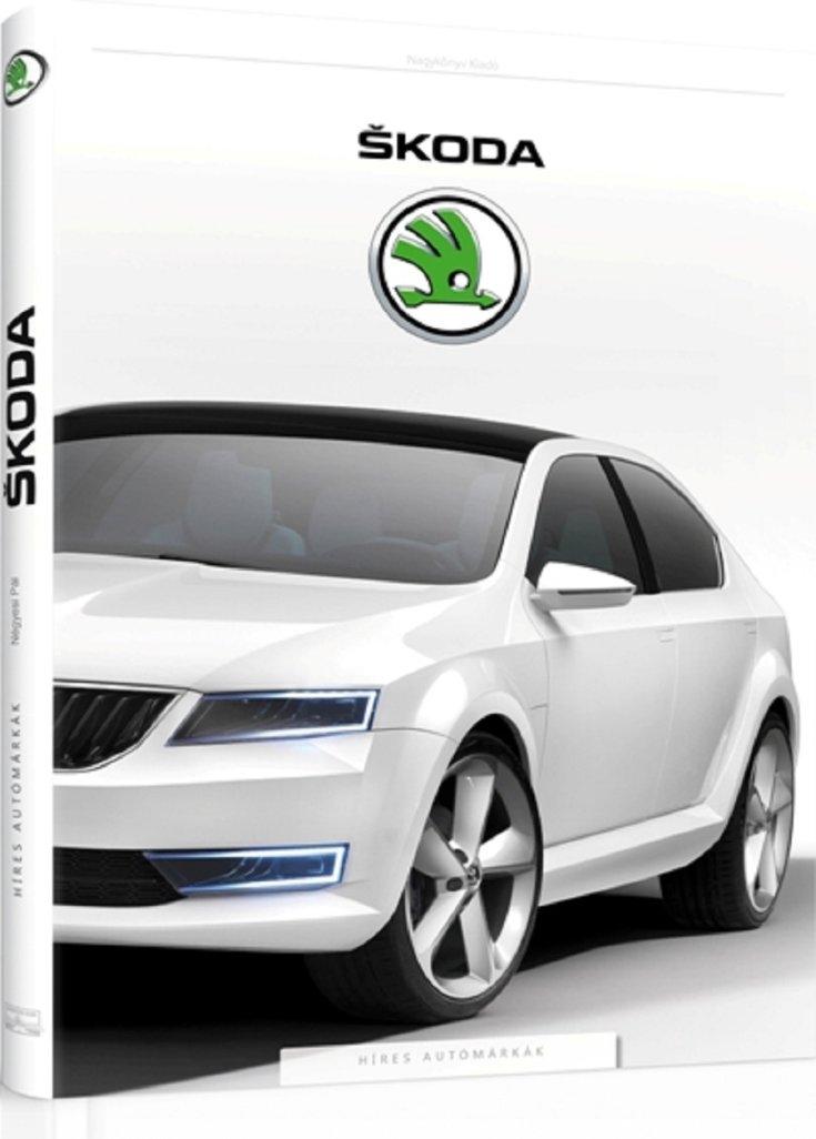 Híres autómárkák könyvsorozat, Skoda, animált könyv 3D-ben, fehér borító, elölnézet, oldalnézet, jobbról döntve