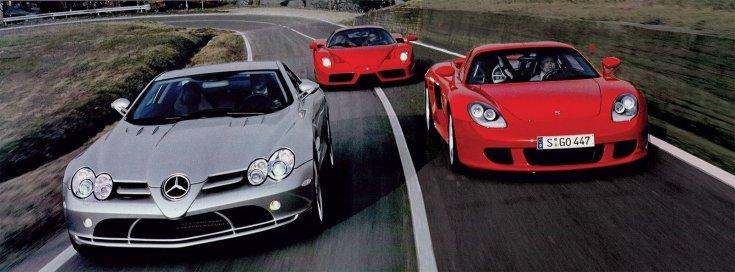Mercedes SLR McLaren, Ferrari Enzo, Porsche Carrera GT
