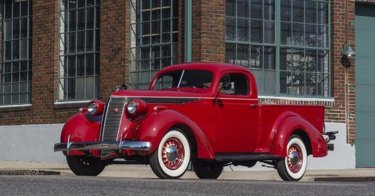 1937 Studebaker Coupé Express J5 pick up, vörös, oldalnézet, jobbról