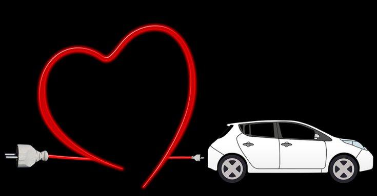 Fantázia rajz az elektromos autószeret témában, egy Nissan LEAF karikatúrájával.