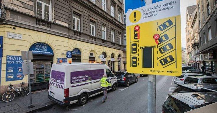 Szabályos parkolásra figyelmeztető tábla
