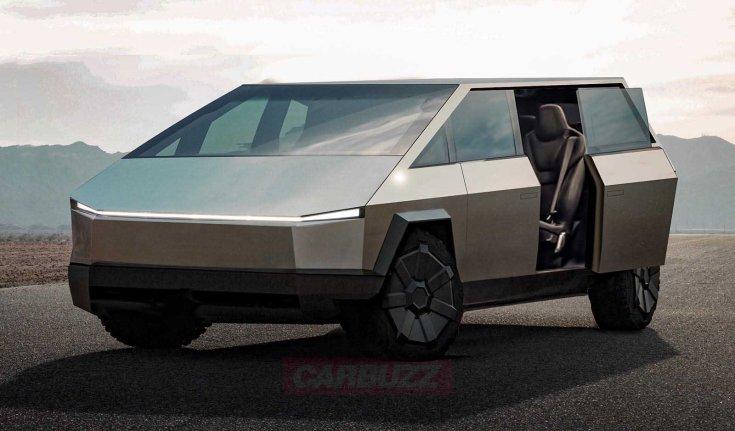 Tesla Cybervan kisbusz szemből, nyitott ajtóval – látványterv