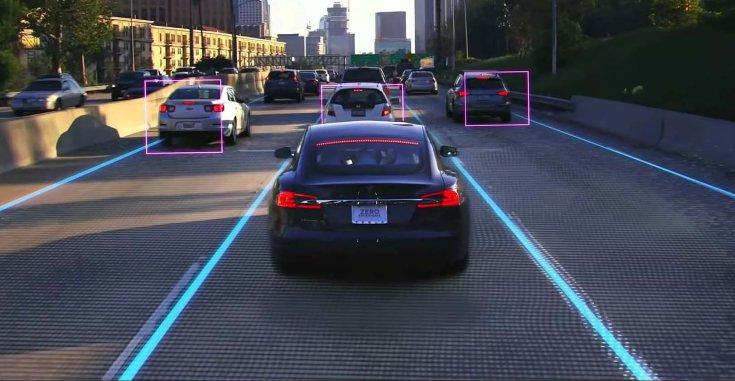 a Tesla mesterséges intelligenciájának érzékelése a forgalomban