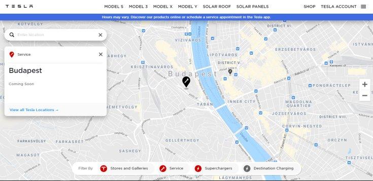 a budapesti Tesla Store helye villáskulccsal jelölve a Tesla oldalán