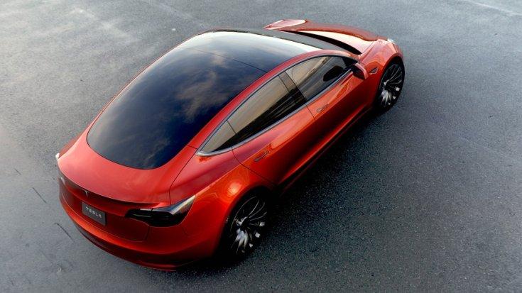 Tesla Model 3 felülnézetből