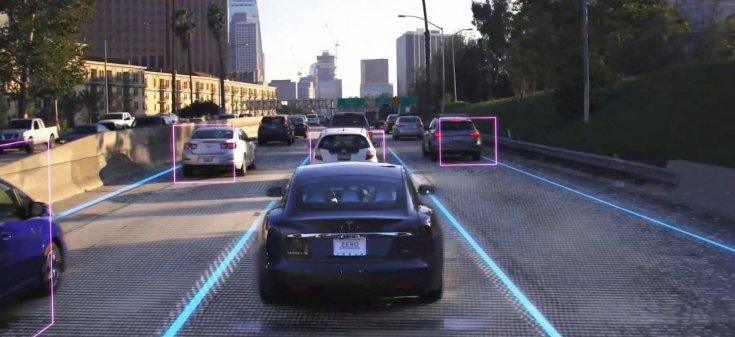 a Tesla önvezető funkciójának szemléltetése – látványterv