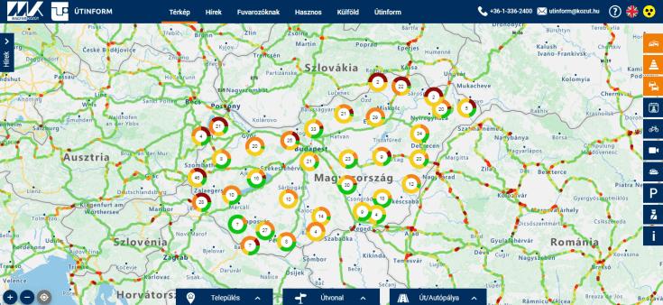 Magyarország térkép az Útinform weboldalán