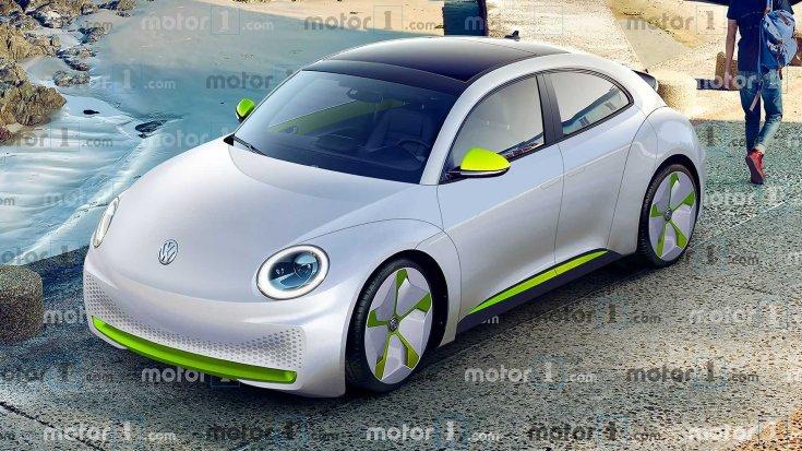 2020-as Volkswagen Beetle koncepció autó egy utcán parkolva oldalról