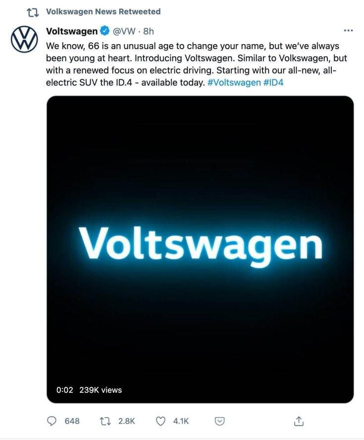 hivatalos bejelentés a Volkswagen Twitter-csatornáján névváltoztatással kapcsolatban