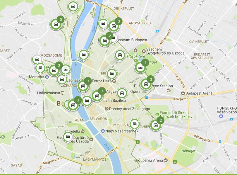 A zöld terület a használati zóna, és pontosan nyomon követhető, melyik autó éppen hol van